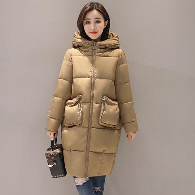 2018秋冬新品韩版纯色大码棉衣女装加厚外套长款学生连帽宽松棉袄