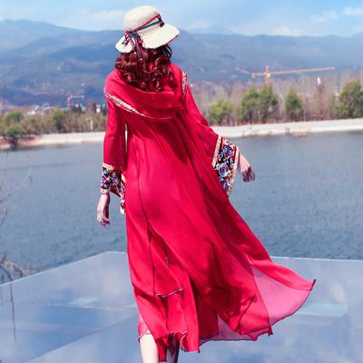 复古丽江云南大理旅游连帽开衫外套绣花外搭薄款中长女夏季WT0316