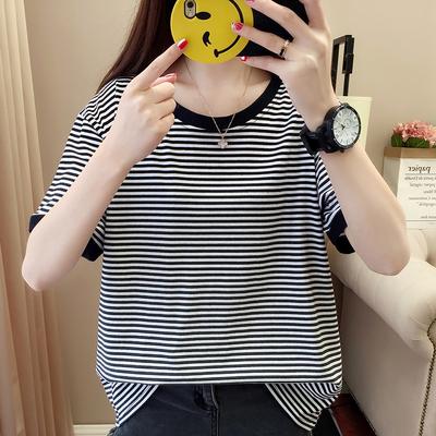 加肥加大码女胖mm2018新款夏装纯棉条纹短袖t恤200斤宽松遮肚上衣