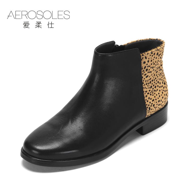 豹纹圆头短靴