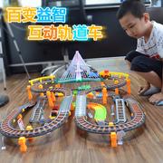 充电大型小火车玩具套装轨道车赛车电动高铁和谐号儿童男孩礼物KC