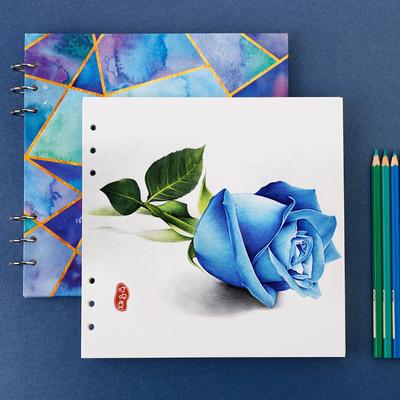 正方形马克水彩笔活页画本钢笔绘图纸空白本彩铅绘画本手绘速写本