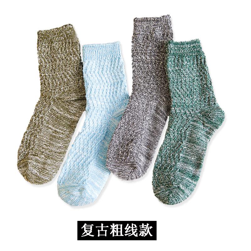 袜子男秋冬中筒袜女余文乐英伦堆堆袜潮文艺复古雪花纯棉粗线长袜