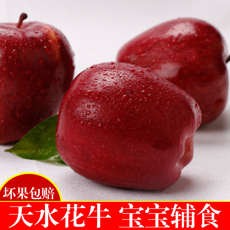 甘肃天水新鲜花牛苹果水果非红富士苹果蛇果孕妇水果整箱5斤包邮