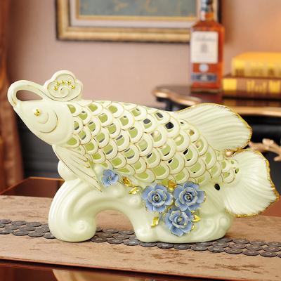 招财金龙鱼陶瓷摆件创意客厅装饰品办公室镂空摆设工艺品开业送礼