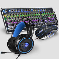 Steampunk mechanical keyboard and mouse set computer retro esports game mouse and keyboard home desktop Wrangler green axis black axis headset machine cable Internet cafes Internet cafe notebook three-piece genuine