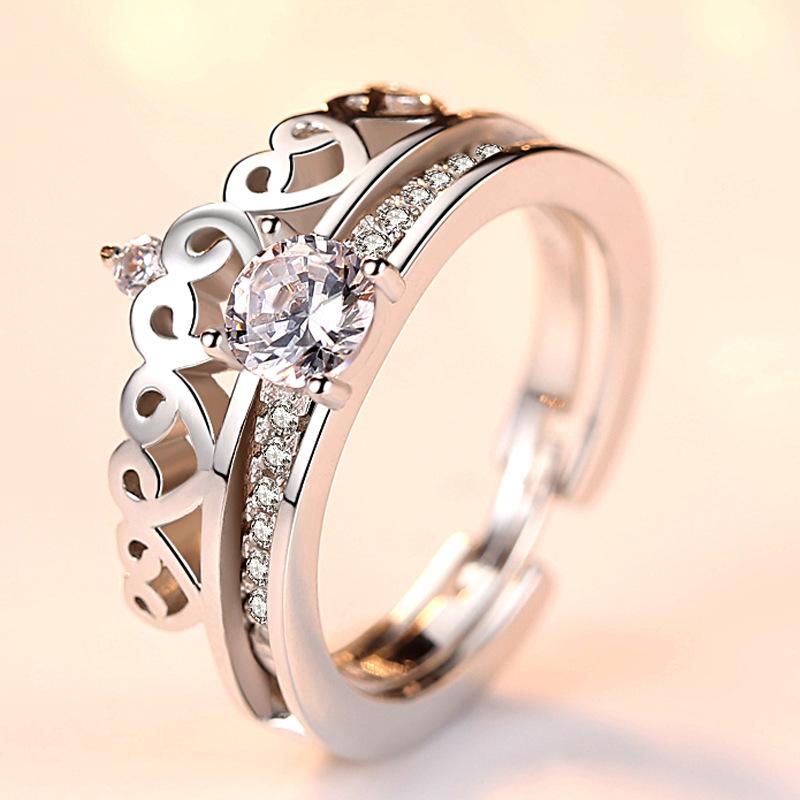 s925银双层二合一皇冠戒指 女可拆卸分离两件套组合 抖音同款戒指
