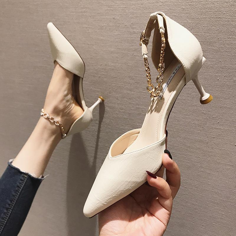 包头凉鞋女细跟夏季2019新款韩版百搭尖头仙女风一字扣带高跟鞋女
