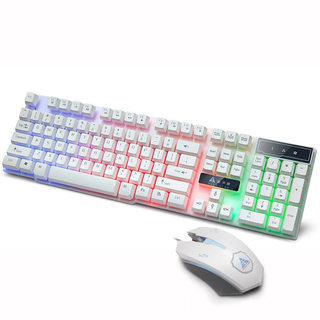 金河田办公游戏键鼠套装USB 台式电脑发光键盘带灯有线鼠标白色