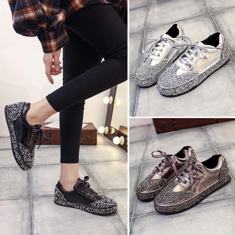 金属色厚底单鞋