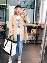 秋装2019年新款大码女装韩版宽松200斤胖MM收腰风衣中长款外套潮
