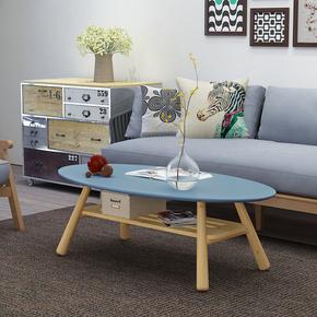 茶几简约时尚现代创意小户型茶几烤漆双层客厅北欧椭圆形木制桌子