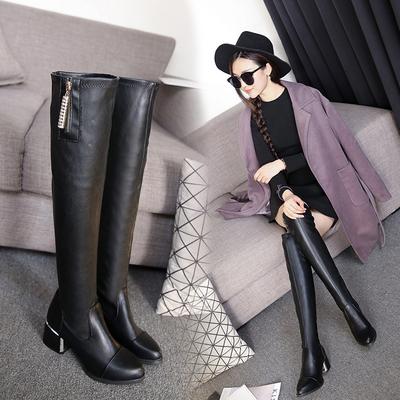 2019新款过膝长靴瘦腿弹力靴女鞋中跟显瘦长筒靴粗跟高筒欧美女靴