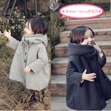 Korean children's winter children's girls woolen coat plus velvet thick Korean version of the coat children's baby cloak woolen