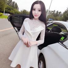 秋装女2018新款韩版时尚名媛复古气质蕾丝拼西装领双排扣连衣裙潮