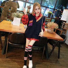 黑暗萝莉同款套装女秋2018新款时尚格子衬衫+V领针织马甲两件套裙