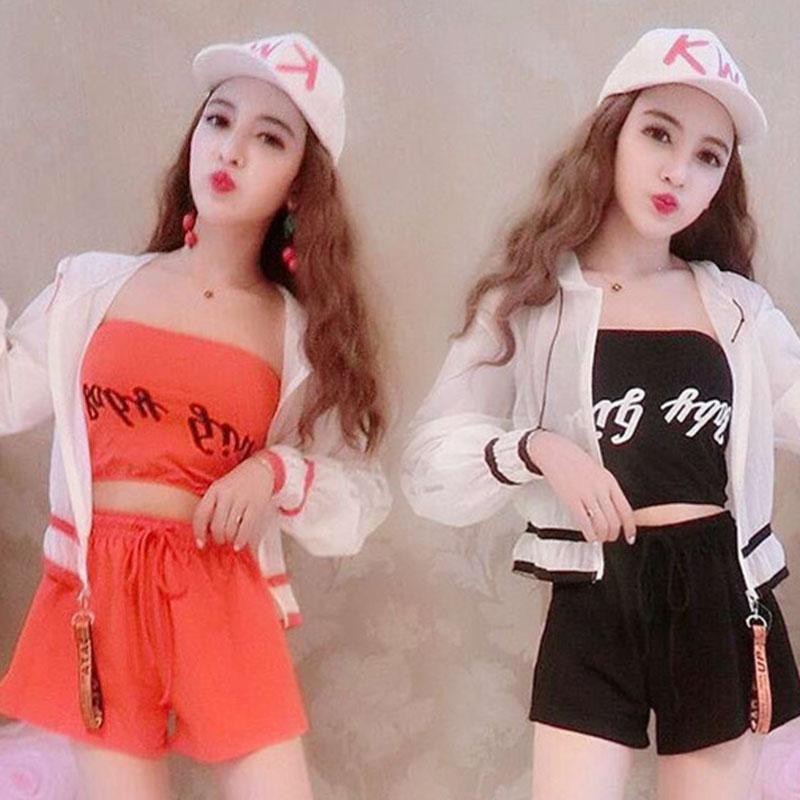 2018新款韩版时尚气质名媛个性修身甜美抹胸十裤子+潮流外套套装