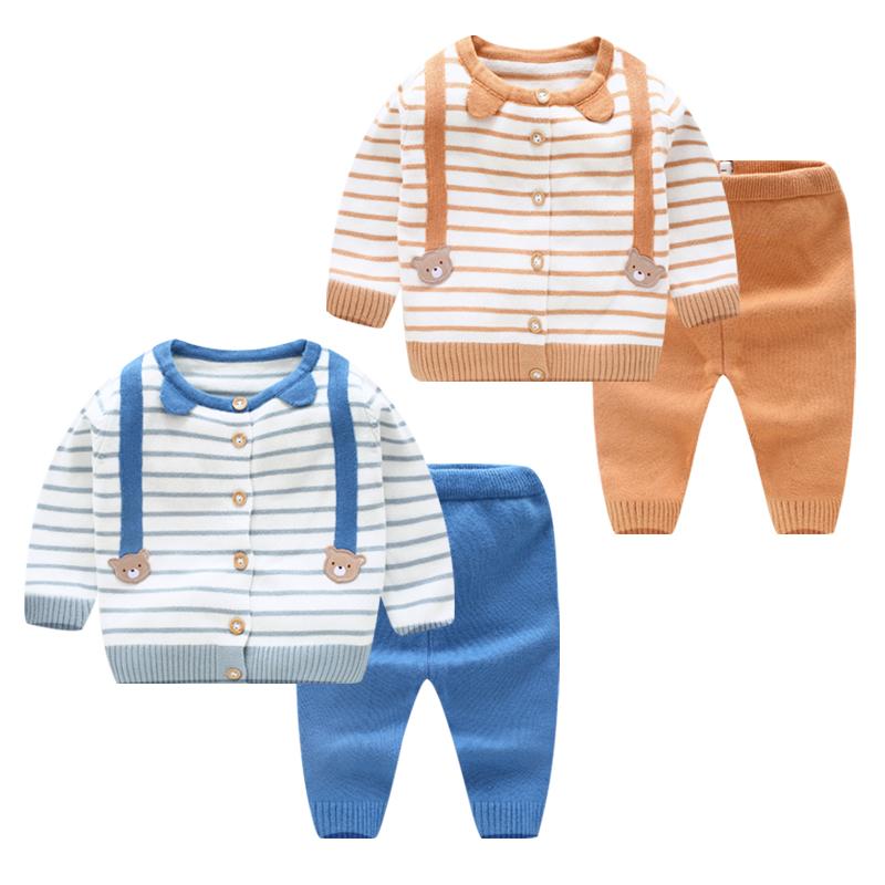 婴儿针织开衫男宝宝毛衣春秋套装1女0-3岁新生儿童薄款线纱衣外套