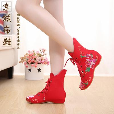 老北京布鞋民族风绣花系带单鞋内增高女鞋春季时尚休闲高帮靴子