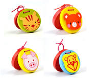 Wooden percussion instrument children animal cartoon beat board music castanets educational toys baby early education