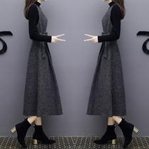 2018春季新款长款针织背带裙两件套修身连衣裙显瘦时尚套装裙子