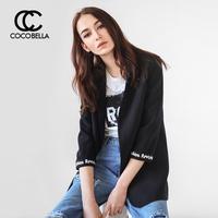 COCOBELLA黑色小西装女字母织带拼接七分袖休闲西服外套CT774