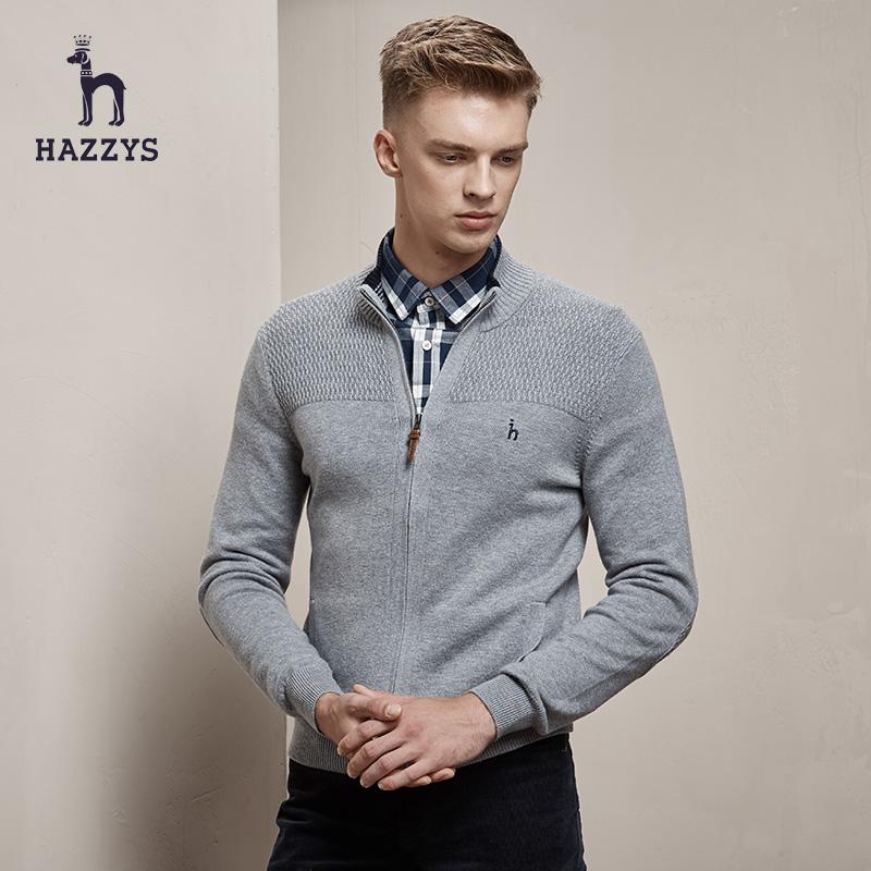 Hazzys哈吉斯男士修身显瘦针织开衫毛衣冬装英伦男装羊毛衫秋外套