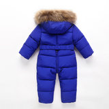 Children's Siamese Down Jacket Thicken Winter Baby Outing Tunic Down Jacket One Piece Kids Ski Suit Set