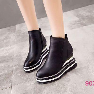 个性大坡跟白条底欧洲站景本色90726时尚潮品真皮女鞋大牌短靴