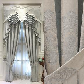 欧式窗帘雪尼尔客厅卧室窗帘简欧式美式窗帘落地平面窗全遮光窗帘