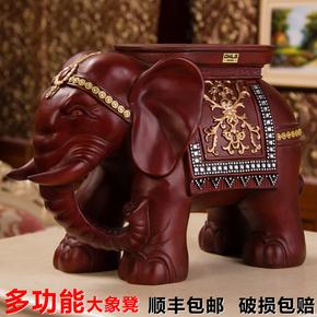 大象换鞋仿实木客厅树脂创意门口穿鞋凳欧式大象凳子家居落地摆件