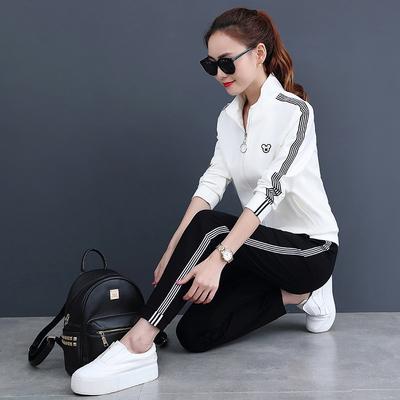 运动套装女春秋2018新款两件套休闲服装韩版时尚显瘦女装运动服潮