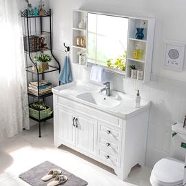 橡木浴室柜实木卫生间落地式现代简约洗脸洗手卫浴台盆组合洗漱台图片