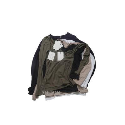 基础百搭螺纹棉 领口开叉修身显瘦长袖T恤女打底衫春季新款包邮