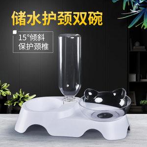 叩叩猫耳朵猫碗斜口双碗自动饮水猫食盆宠物碗狗碗猫咪用品小型犬