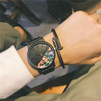 手表男学生韩版简约立体刻度潮牌运动大表盘女欧美英伦风复古腕表品牌官网