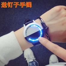 韩版潮女学生电子手表男智能创意个性发光led触屏简约黑白情侣表