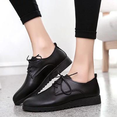 肯德基工作鞋女全黑色小皮鞋软底防滑酒店中餐厅厨房平底上班鞋子