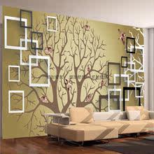 6D立体梦幻方框抽象树小鸟艺术壁画客厅卧室电视背景墙纸壁纸欧式