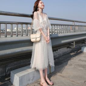 连衣裙女夏2018新款超仙慵懒风温柔仙女收腰网纱ins超火的长裙子