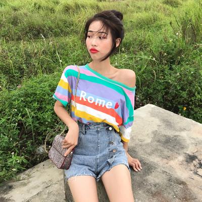 韩国chic宽松露肩彩虹小清新百搭时尚条纹爱心字母印花短袖T恤潮