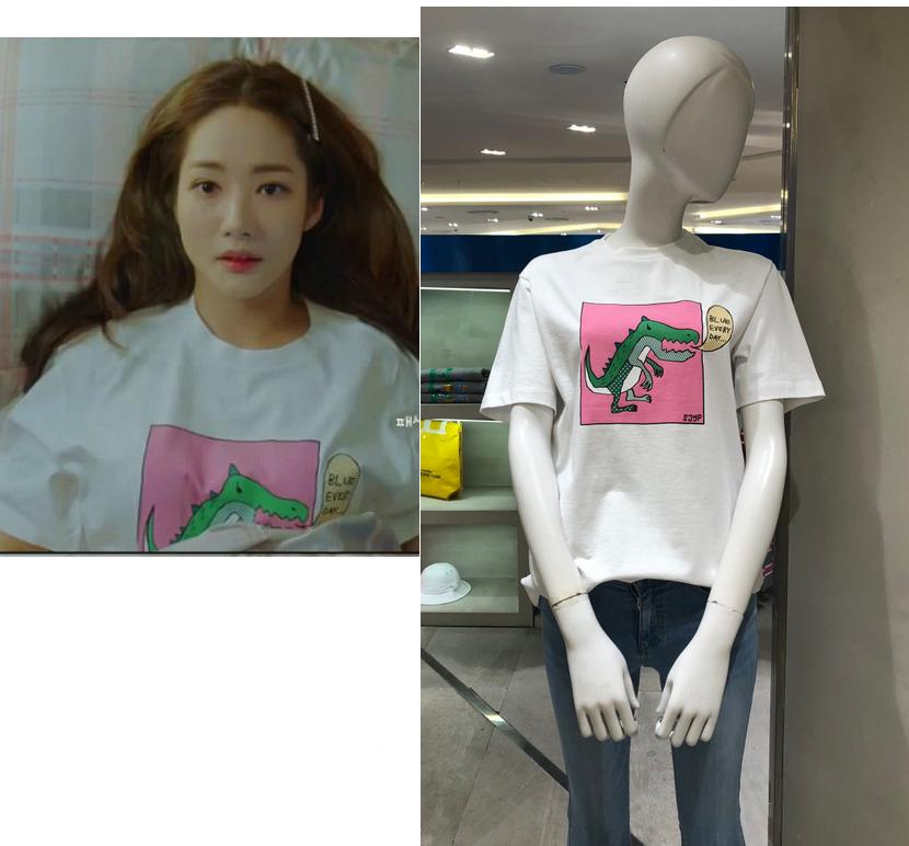 韓國代購正品 韓劇她的私生活 樸敏英同款 SJYP綠色恐龍短袖T恤