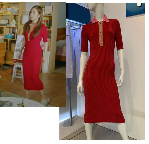 韓國代購正品 她的私生活 樸敏英同款SJYP修身翻領長款針織連衣裙