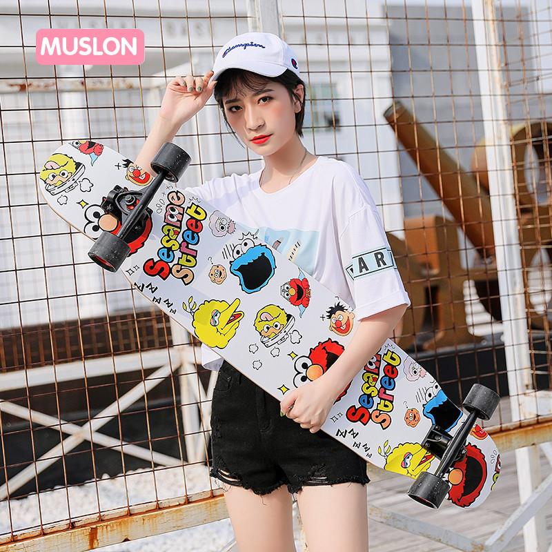 抖音滑板韩国长板舞板四轮滑板成人初学者男女生刷街滑板来图定制