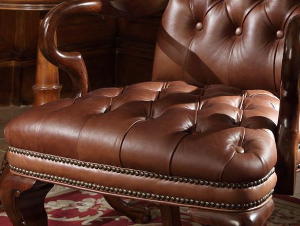 美式办公椅实木欧式老板椅真皮扶手洽谈椅大班椅家用固定脚书桌椅