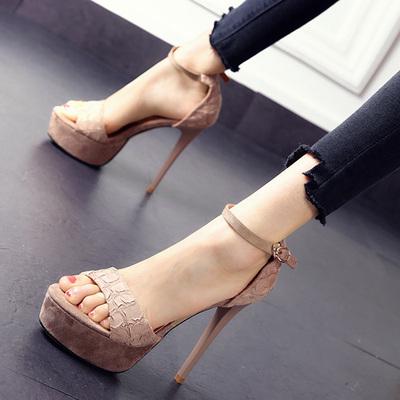 欧美性感裂纹时尚防水台夜场夏季超高跟鞋一字扣露趾细跟凉鞋女