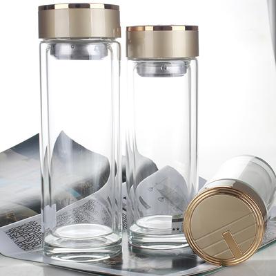 玉金晶双层水晶玻璃杯 创意便携过滤加厚茶杯子男士定制商务泡茶