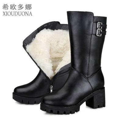军靴女2018冬羊皮毛一体保暖高跟大码真皮粗跟防滑中筒羊毛雪地靴