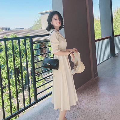 2018夏装新款v领高腰雪纺连衣裙女中长款气质显瘦a字裙冷淡风裙子