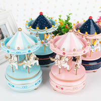 Carousel Music Box Music Box Cake Decoration Baking Flag Rotating Trojan Cake Decoration Wholesale